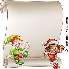 natale, elfo, rotolo, caratteri, segno, cartone animato