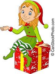 natale, elfo, seduta, cartone animato, regalo