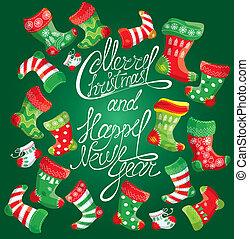 natale, famiglia, stockings., anno, nuovo, scheda natale