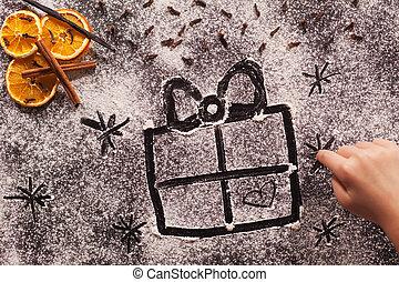 natale, farina, mano, bambino, disegno, presente