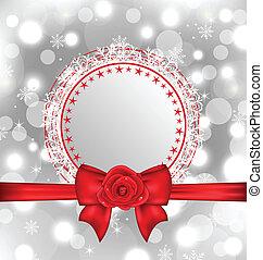 natale, fiocco di neve, scheda, con, arco regalo, e, rosa