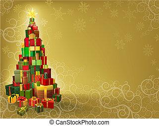 natale, fondo, albero, regali