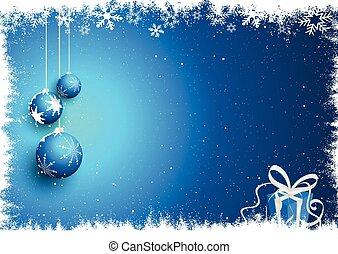 natale, fondo, baubles, regalo, nevoso