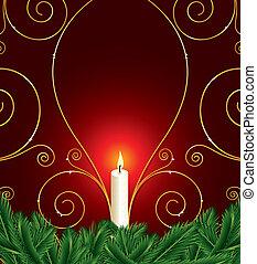 natale, fondo, candela