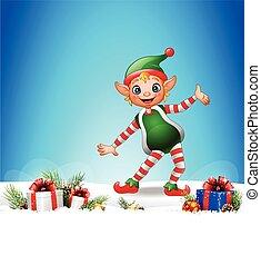 natale, fondo, con, felice, elfo