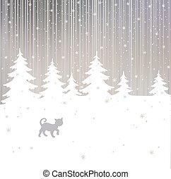 natale, fondo, con, gatto, e, albero inverno