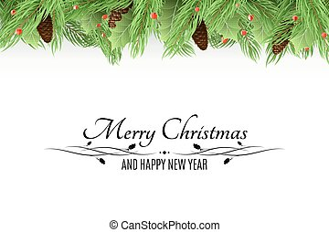 natale, fondo., mazzolino, di, fresco, alberi abete, e, neve, bacche, su, uno, bianco, fondo., nero, testo, con, decorations., abete, cones., felice, nuovo, year., vettore