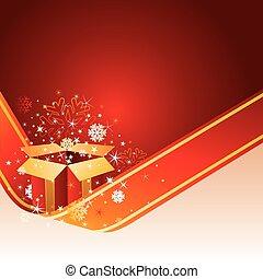 natale, fondo, rosso, regalo