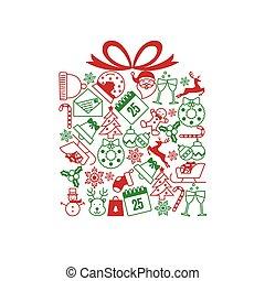 natale, forma, regalo, icone