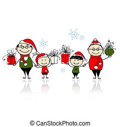 natale, gifts., famiglia felice, insieme