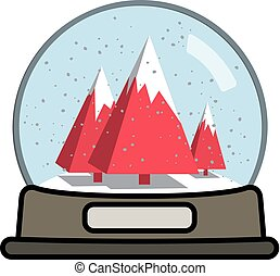 natale, globo, neve, albero, tre