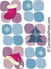 natale, icons;, calzino, albero, cappello, e, snowflakes-1