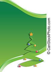 natale, illustrazione, albero, verde