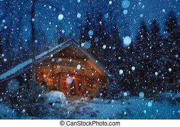natale, inverno, notte, fondo