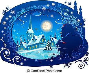 natale, inverno, notte