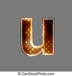 natale, lettera, con, luce ardente, struttura, -, u