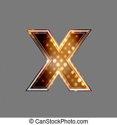 natale, lettera, con, luce ardente, struttura, -, x