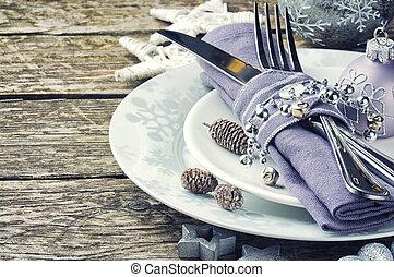 natale, montaggio tavola, in, argento, tono