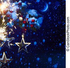 natale, notte, -, fondo, con, ramo albero, e, stelle, in, il, neve