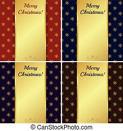 natale, oro, banners., vettore, illustration., cartelle