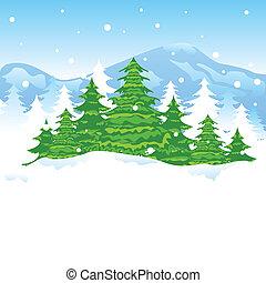 natale, paesaggio, inverno