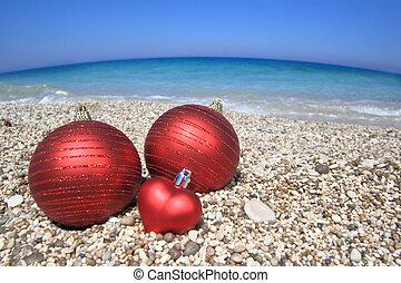 natale, palle, spiaggia