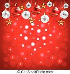 natale, palle, su, sfondo rosso