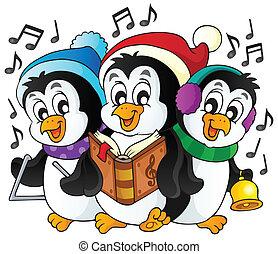 natale, pinguini, tema, immagine, 1