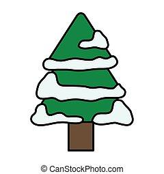 natale, pino, allegro, neve, albero