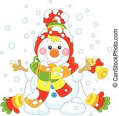 natale, pupazzo di neve, con, uno, campana