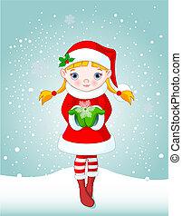 natale, ragazza, in, neve