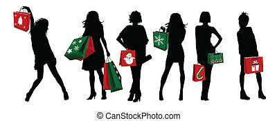natale, ragazze, silhouette, shopping