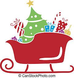 natale, santa, sleigh, con, regali, stampino