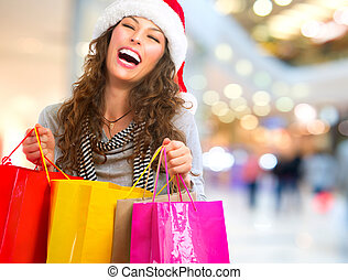 natale, shopping., donna, con, borse, in, shopping, mall.,...