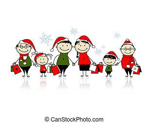 natale, shopping., famiglia felice, insieme