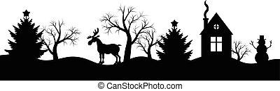 natale, silhouette, inverno, landsca