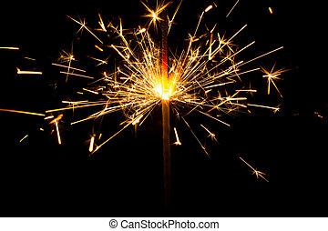 natale, sparkler, su, nero, fondo., bengala, fuoco