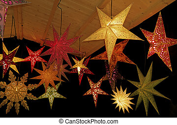 natale, stelle, colorato