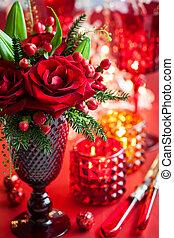 natale, tavola, decorazione, con, fiori, e, candele
