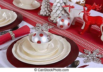 natale, tavola, setting., bianco rosso