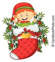 natale, tema, con, elfo, in, rosso, calzino