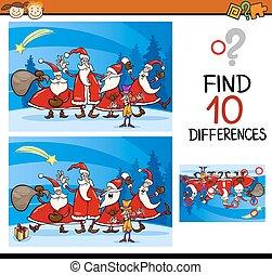 natale, trovare, differenze, compito