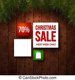 natale, vendita, disegno, template., legno, fondo, realistico, fir., uso, esso, per, tuo, inverno, vacanze, design., vettore, illustration.