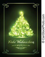 natale, weihnachtskarte, scheda