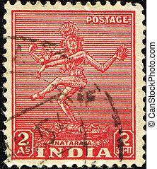 Nataraja - INDIA - CIRCA 1949: A stamp printed in India...