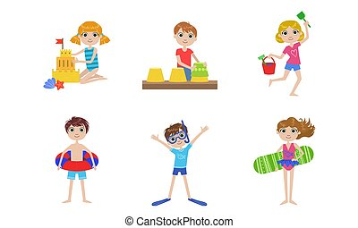 natation, été, extérieur, gosses, activités, ensemble, sable, filles, illustration, garçons, vecteur, confection, sandcastle, jouer