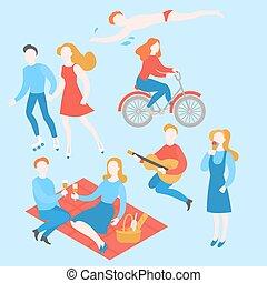 natation, été, extérieur, pique-nique, gens, guitare, couple, parc, manger, plat, jouer, ice-cream., équitation, activity., avoir, dessin animé