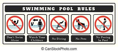 natation, board., règles, ensemble, piscine, symbole, icônes