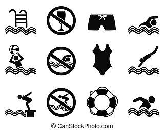 natation, ensemble, icônes