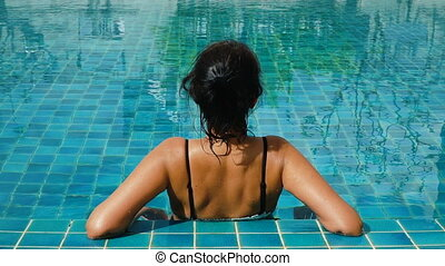 natation, femme, piscine, délassant, heureux